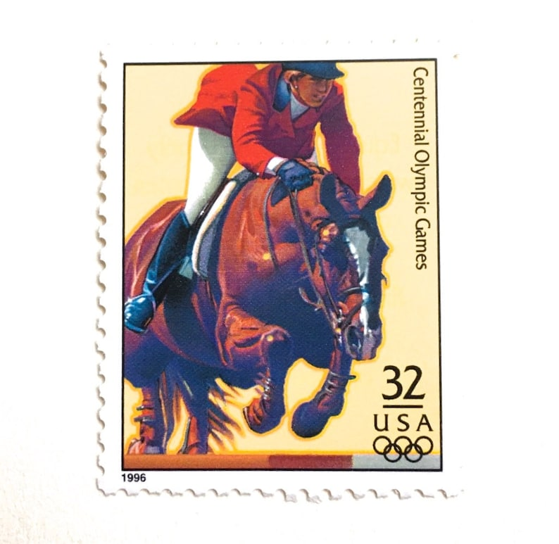 5 Horse Jumping Postage Stamps Unused Vintage Equestrian Horse image 0