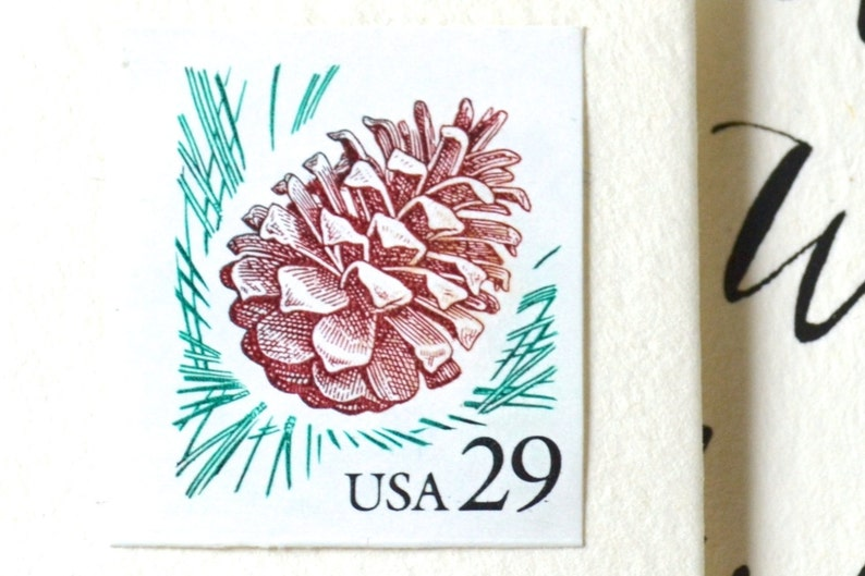 10 UNused Pinecone Postage Stamps for Mailing Invitations // image 0