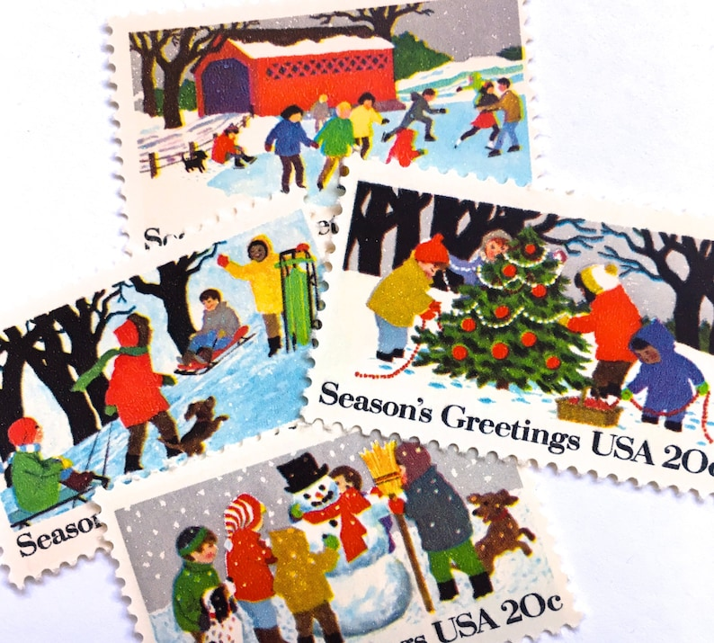 12 Unused Vintage Christmas Postage Stamps // Children image 0