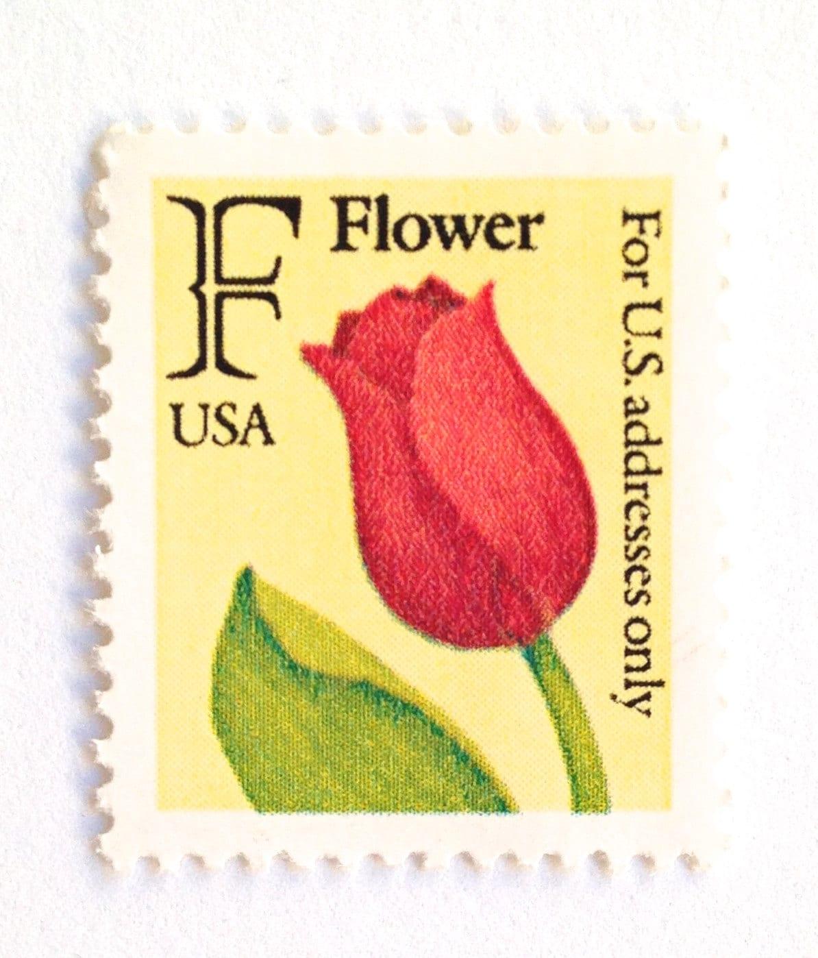 10 UNused Vintage Tulip Postage Stamps 29 Cent Red Tulip | Etsy