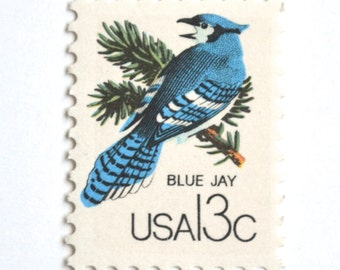 10 Vintage Blue Jay Stamps Unused Pine Tree Green and Blue Bird Vintage 13 Cent Postage Stamps for Mailing