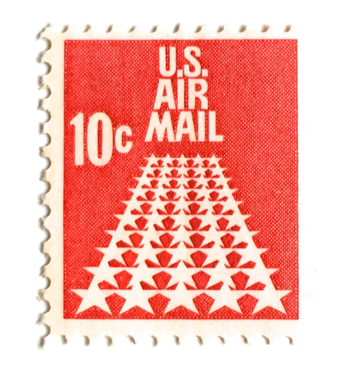 10 Unused Vintage 1968 Air Mail Postage Stamps // 10 Cent Red | Etsy
