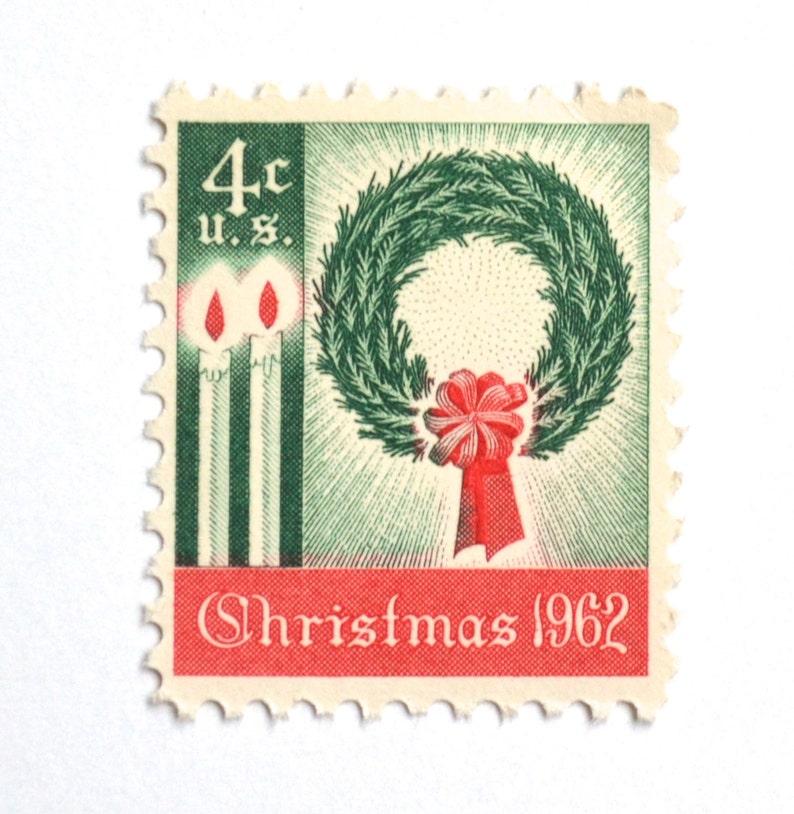 10 Unused Vintage 1962 Christmas Postage Stamps // Christmas image 0