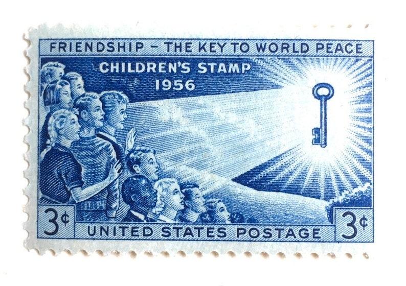 10 Vintage 1956 Children's Stamps // Friendship  The Key image 0