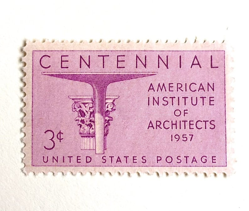 10 Vintage Pink Postage Stamps // Architects  1950s Mid image 0