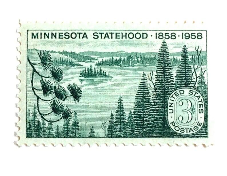 10 Vintage Pine Tree Stamps // Vintage 1958 Green Pine Forest image 0