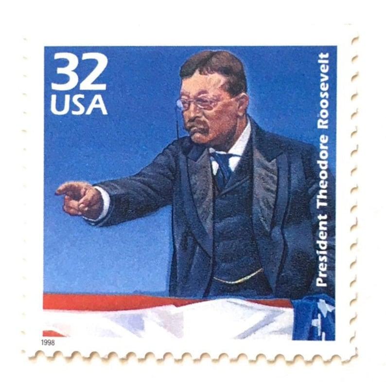 5 Vintage Teddy Roosevelt Stamps // Vintage Blue President image 0