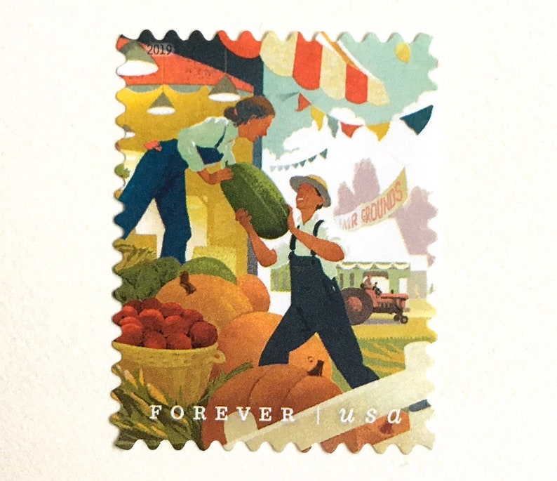 10 Fall Harvest Forever Stamps // State County Fair Farmers image 0