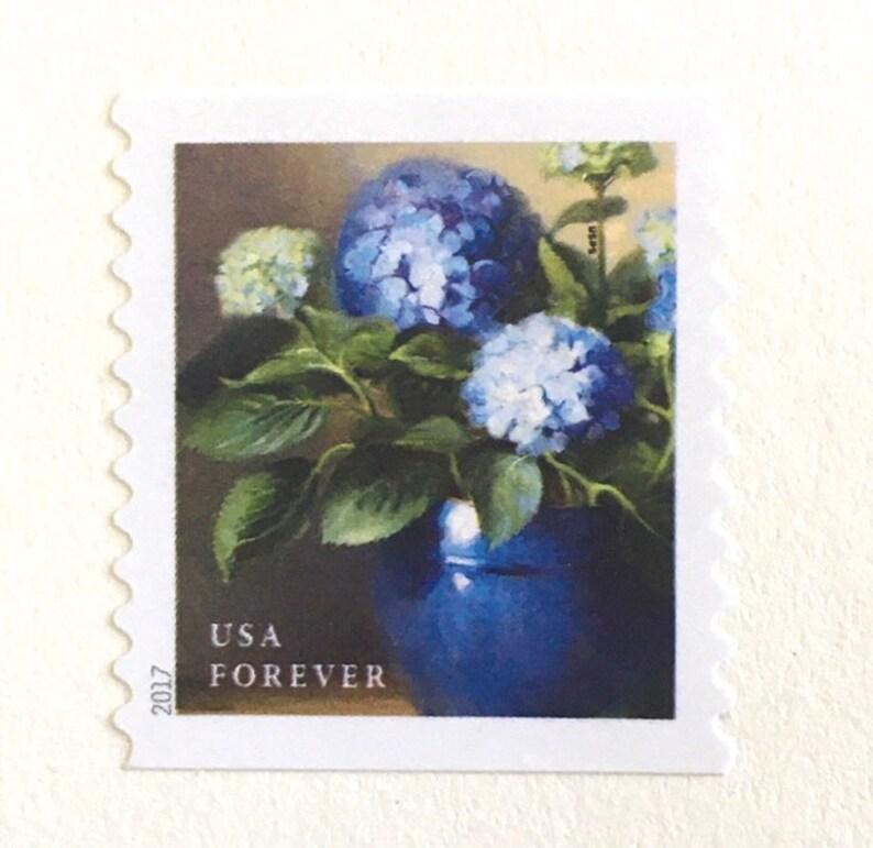 10 Blue Hydrangea Forever Stamps Unused Blue Hydrangeas Square image 0