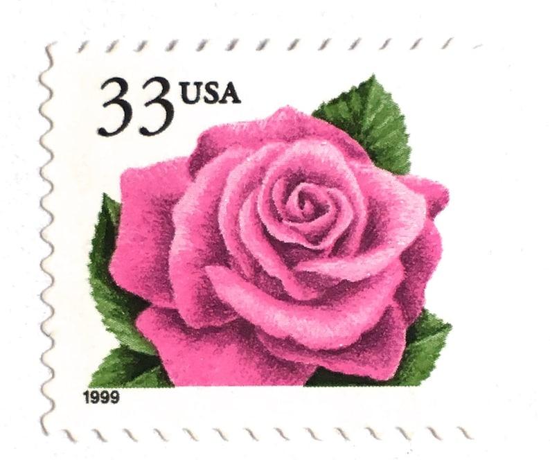 10 Pink Rose Postage Stamps Vintage Unused Rose Stamps For image 0