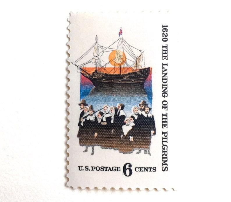 10 Vintage Pilgrim Postage Stamps // Vintage Plymouth Rock image 0
