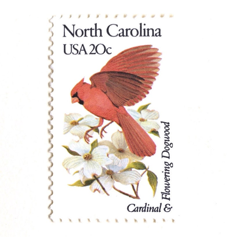 10 North Carolina Cardinal and Dogwood Postage Stamps // image 0