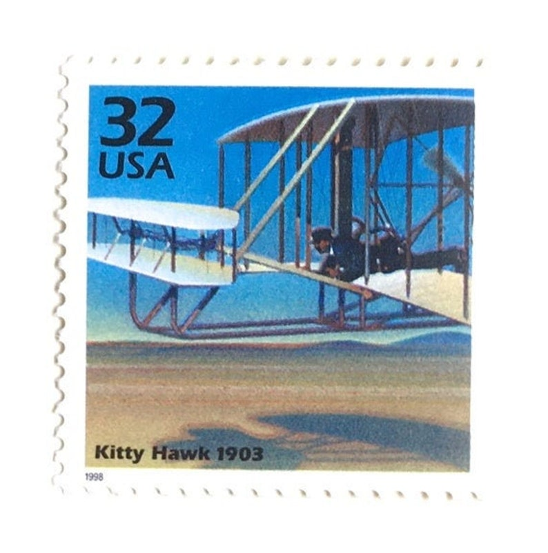 10 Wright Brothers Air Plane Postage Stamps // First Flight at image 0