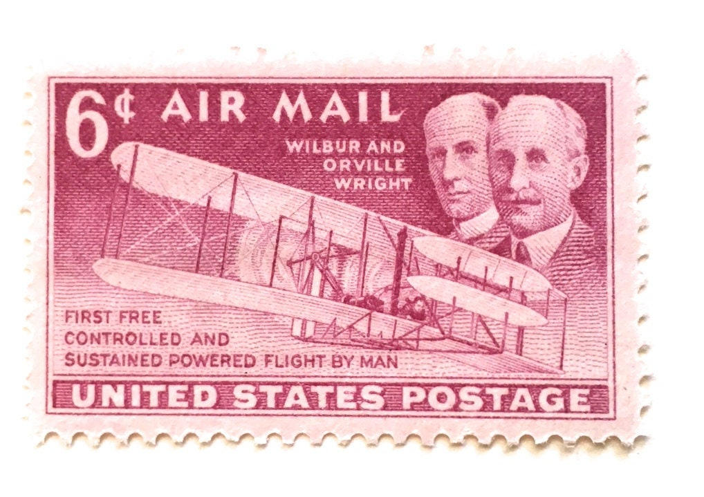 10 Vintage Pink 1949 Air Mail Postage Stamps Wright