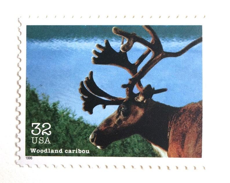 10 Caribou Postage Stamps // Vintage 32 Cent Woodland Caribou image 0