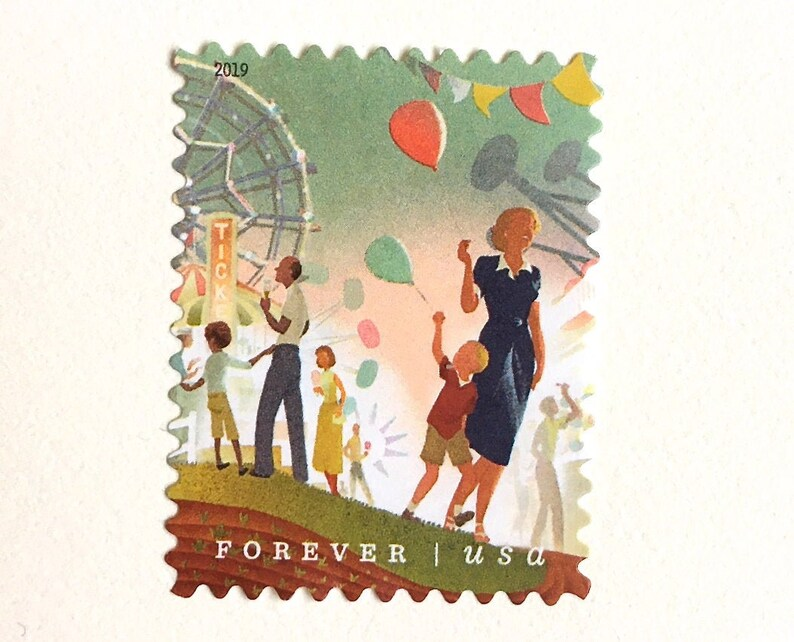 10 State Fair Forever Postage Stamps / Balloons and Ferris image 0