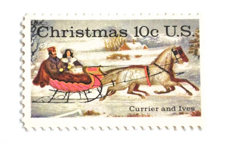 10 Unused Vintage Currier and Ives Postage Stamps // Sleigh image 0