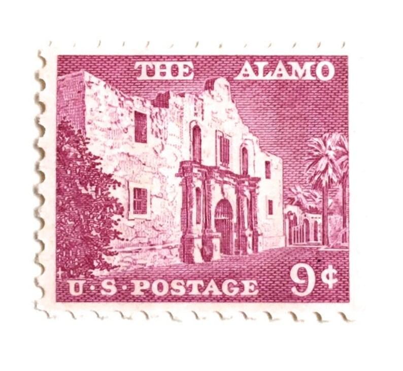 10 Vintage Alamo Postage Stamps // Pink Vintage Texas Alamo image 0