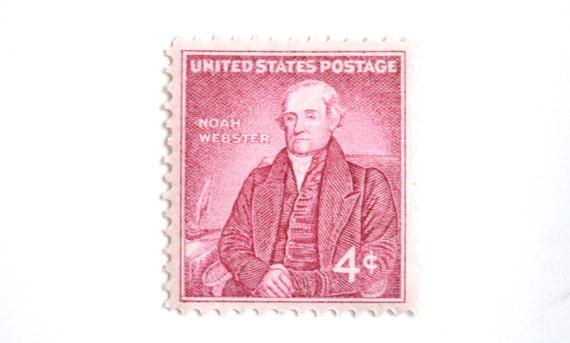 10 Unused 1958 Vintage Pink Stamps Noah Webster 4 Cent