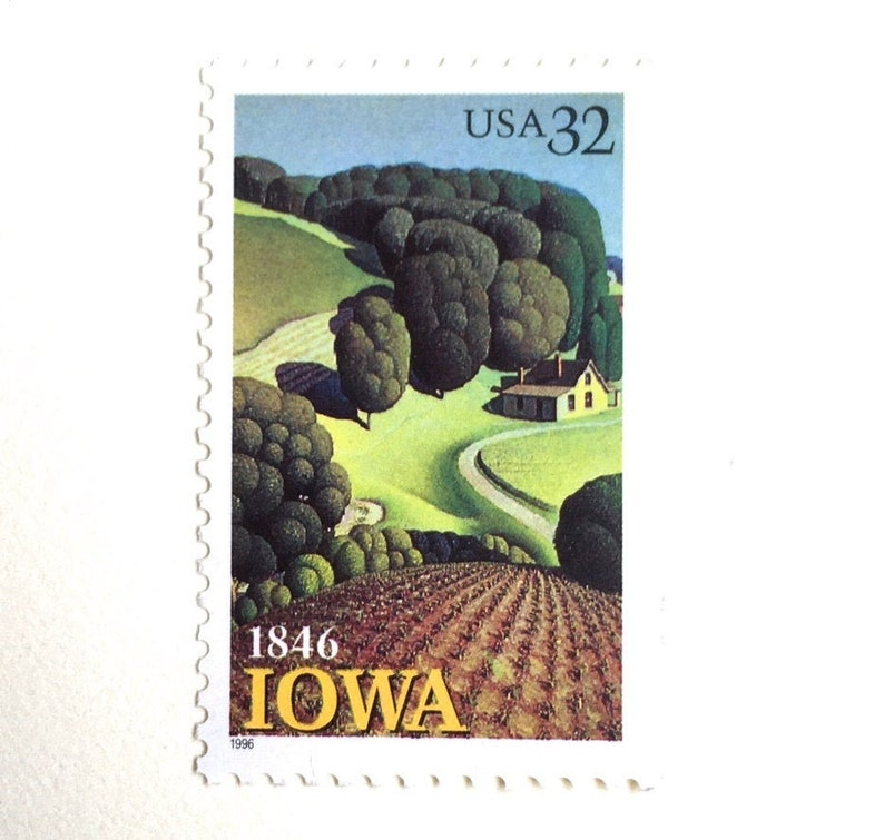 10 Grant Wood Painting // Vintage Iowa Farm Postage Stamps // image 0