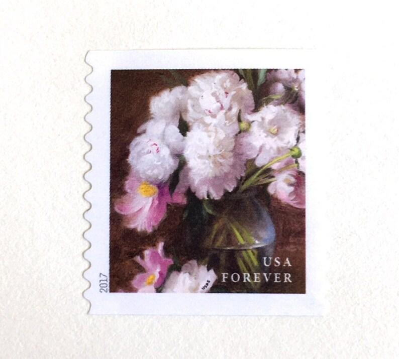 10 Peony Botanical Forever Postage Stamps // Unused Vintage image 0