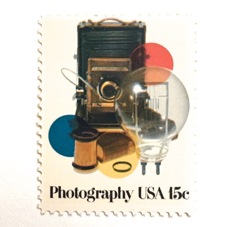 10 Vintage Photography Postage Stamps // Camera Film image 0