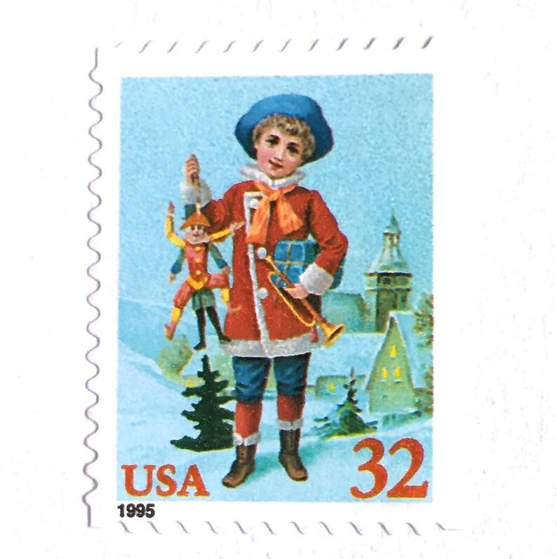 10 Unused Vintage Christmas Postage Stamps // Festive Child image 0