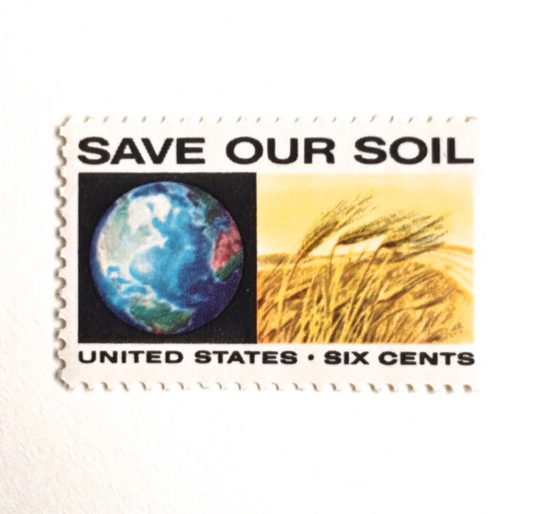 10 Vintage Earth Stamps // Save Our Soil // Grain Field and image 0