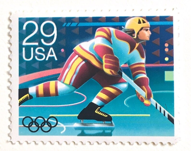10 Hockey Stamps // 29 Cent Vintage Olympic Hockey Player image 0