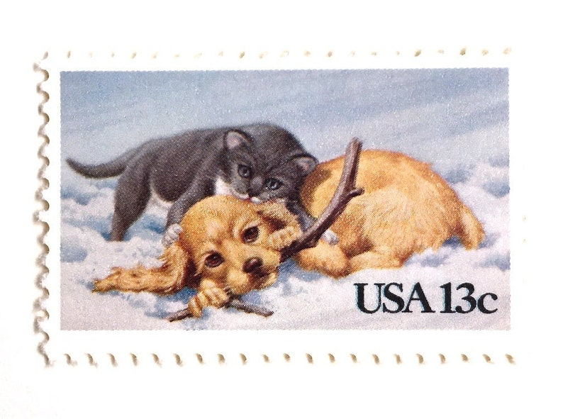 10 Christmas Puppy & Kitten Postage Stamps // Dog and Cat image 0