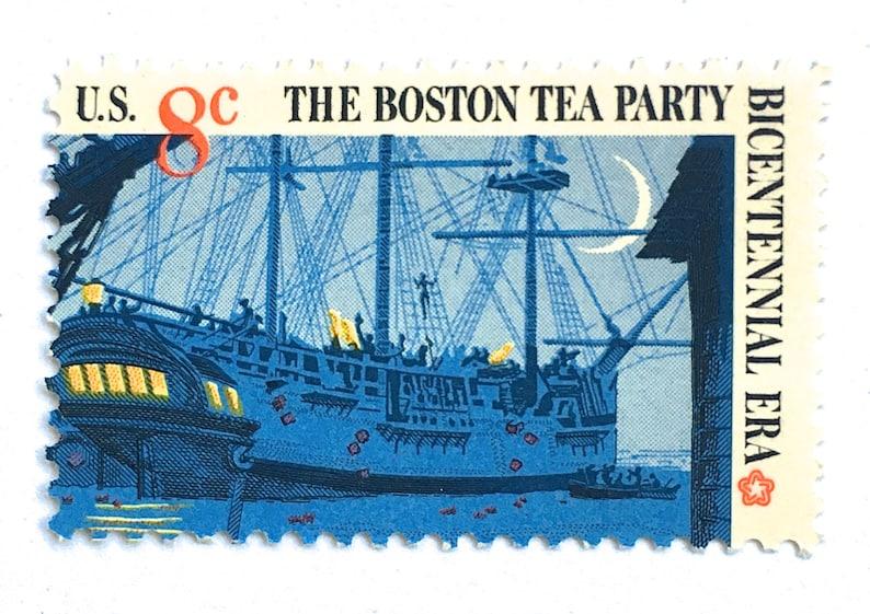 12 Vintage Boston Tea Party Stamps Nautical New England