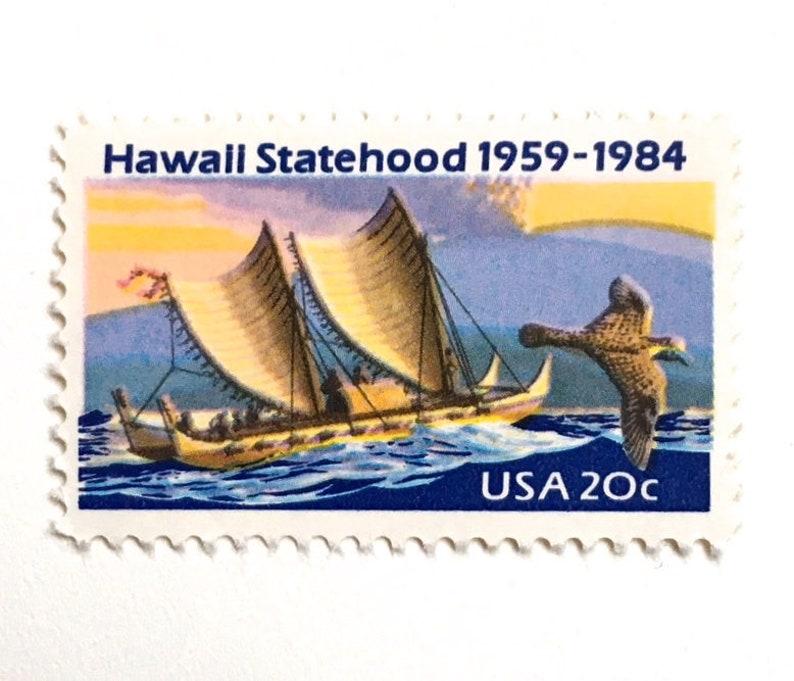 10 Hawaii Postage Stamps // Vintage Tropical Island Ocean image 0