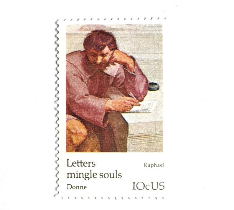 10 Vintage Oil Painting Postage Stamps // Old World Raphael image 0