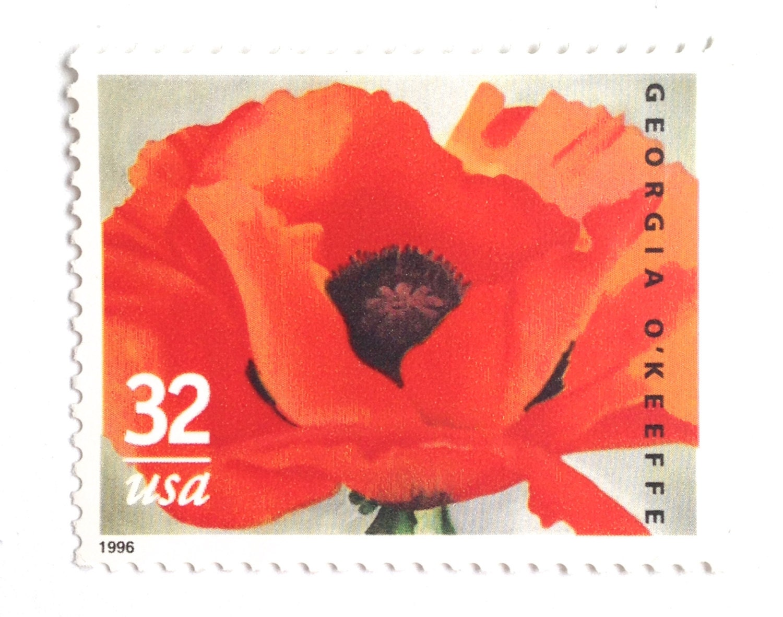 Unused Georgia O\'Keeffe Poppy Stamps // Red Poppy Artist | Etsy