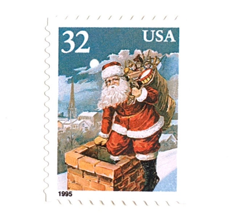 10 Unused Vintage Santa Stamps // Up on the Rooftop Holiday image 0