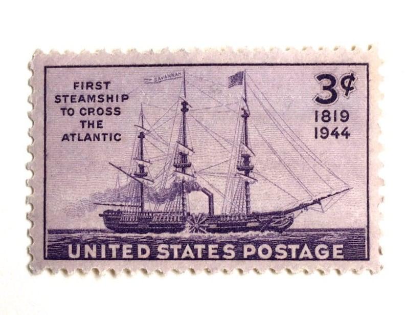 10 Vintage Sailing Ship Stamps // Nautical 1944 Postage Stamps image 0