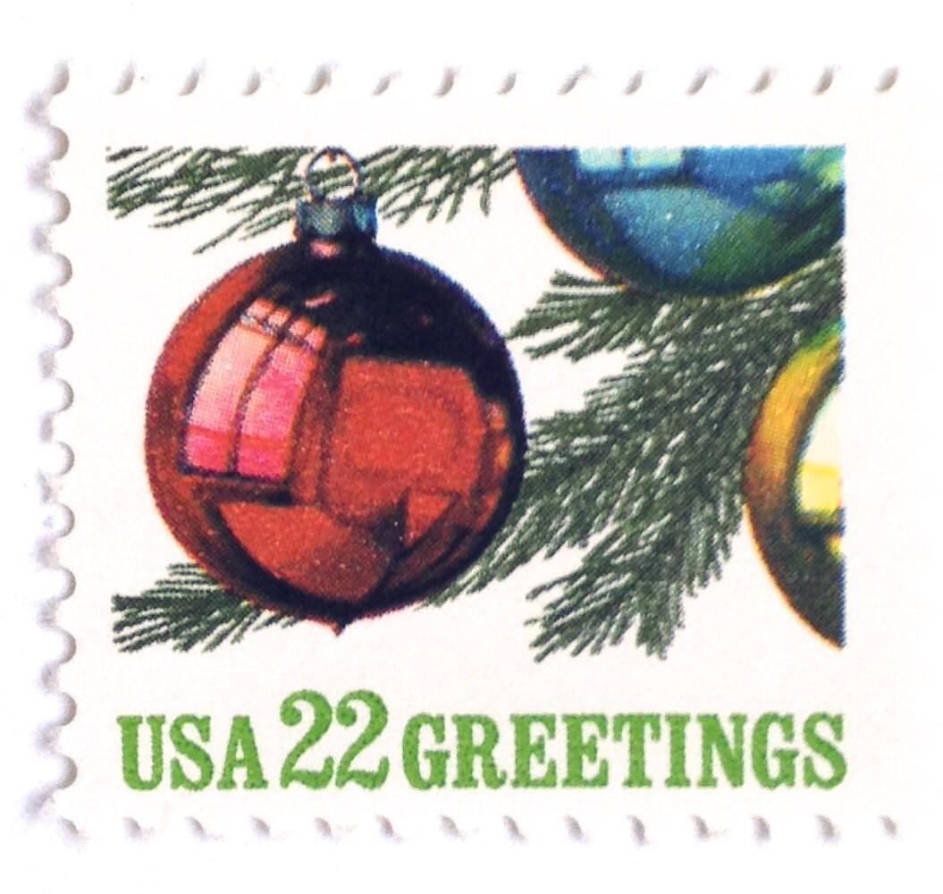 10 Unused Vintage Glass Christmas Ornament Postage Stamps // | Etsy