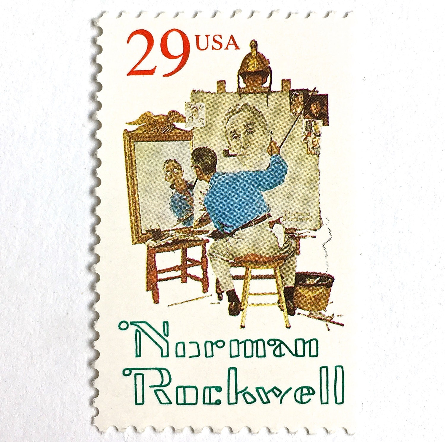 10 Norman Rockwell Postage Stamps Americana Artist 29 Etsy