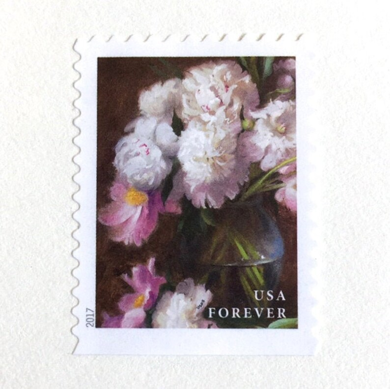 10 Peony Botanical Forever Postage Stamps  Vintage White and Pink Peonies Stamps  For Mailing Wedding Invitations and Cards