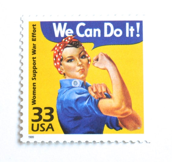Vintage WWII Poster Postage Stamps for Mailing 5 Rosie the Riveter Postage Stamps  We Can Do It