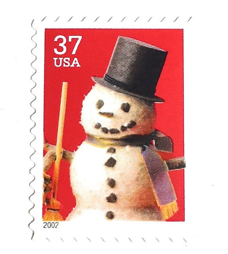 8 Unused Vintage Snowman Postage Stamps // Frosty the Snowman image 0