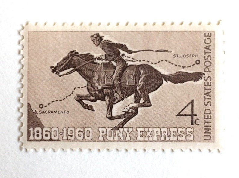 10 Pony Express Postage Stamps / Western Cowboy Mail Delivery image 0