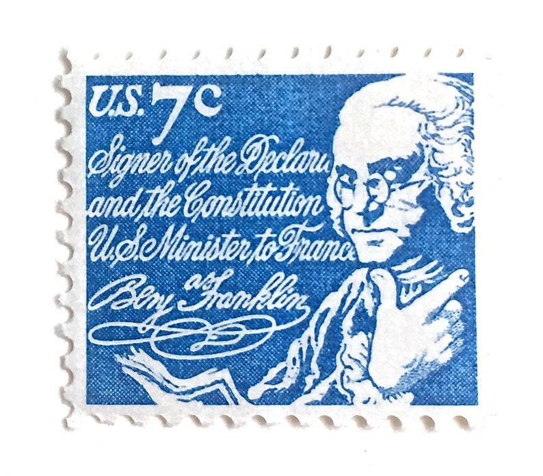 10 Blue Vintage Postage Stamps // Benjamin Franklin Postage image 0