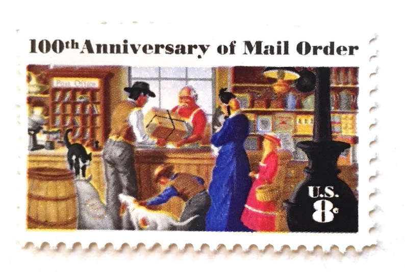 10 Vintage Post Office Stamps // 100th Anniversary of Mail image 0