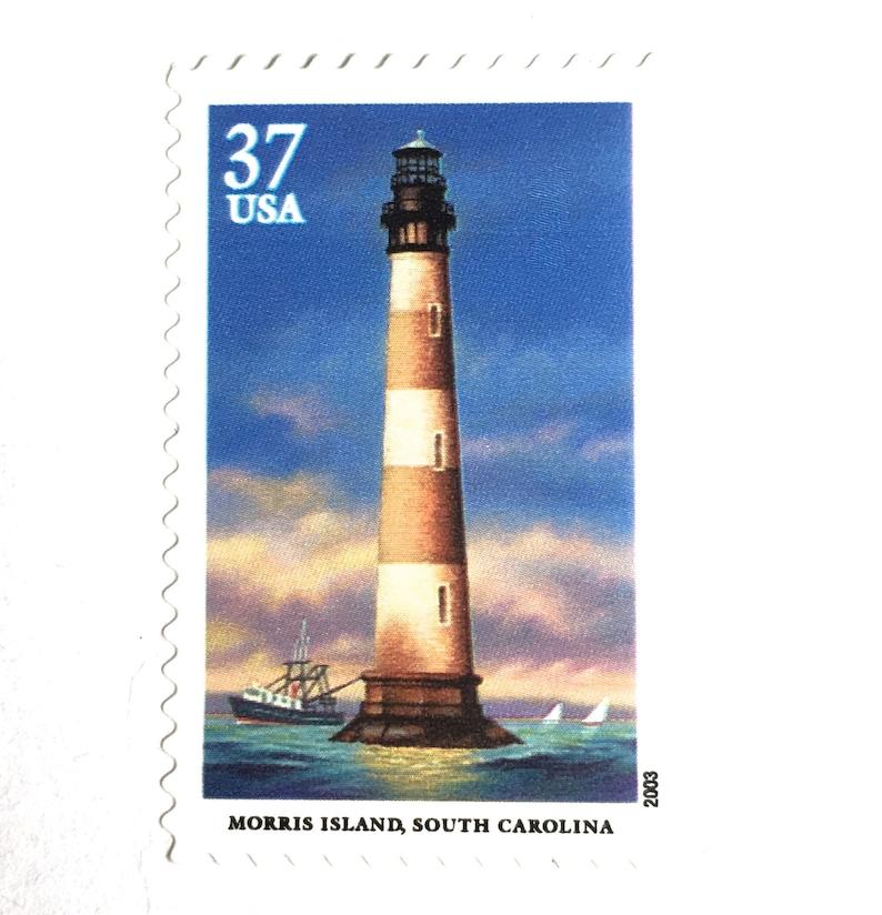 10 South Carolina Lighthouse Vintage Stamps // Morris Island image 0
