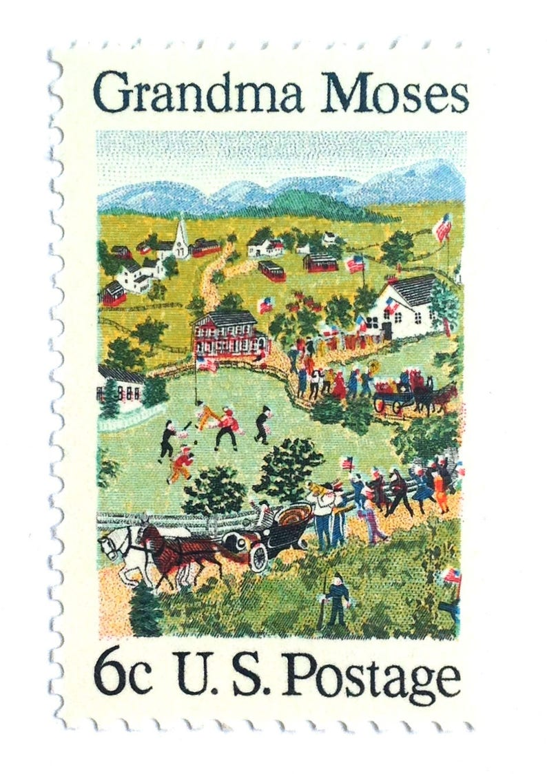 10 Vintage Grandma Moses Stamps // Folk Art Scene // Country image 0