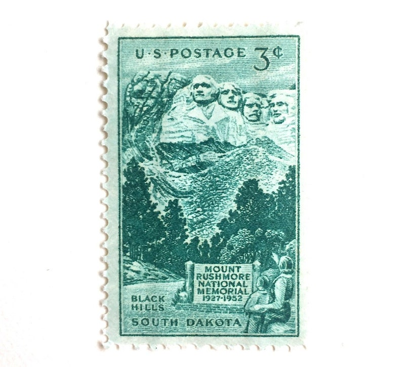 10 Mount Rushmore Stamps // 3 Cent Vintage Green Stamps // image 0