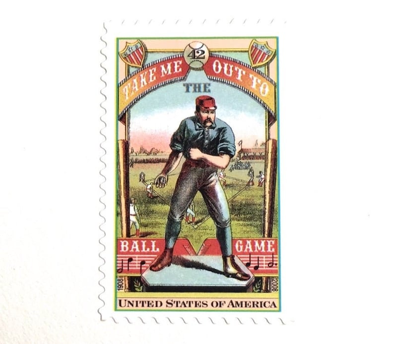 10 Vintage Baseball Stamps // Take Me Out to the Ball Game // image 0