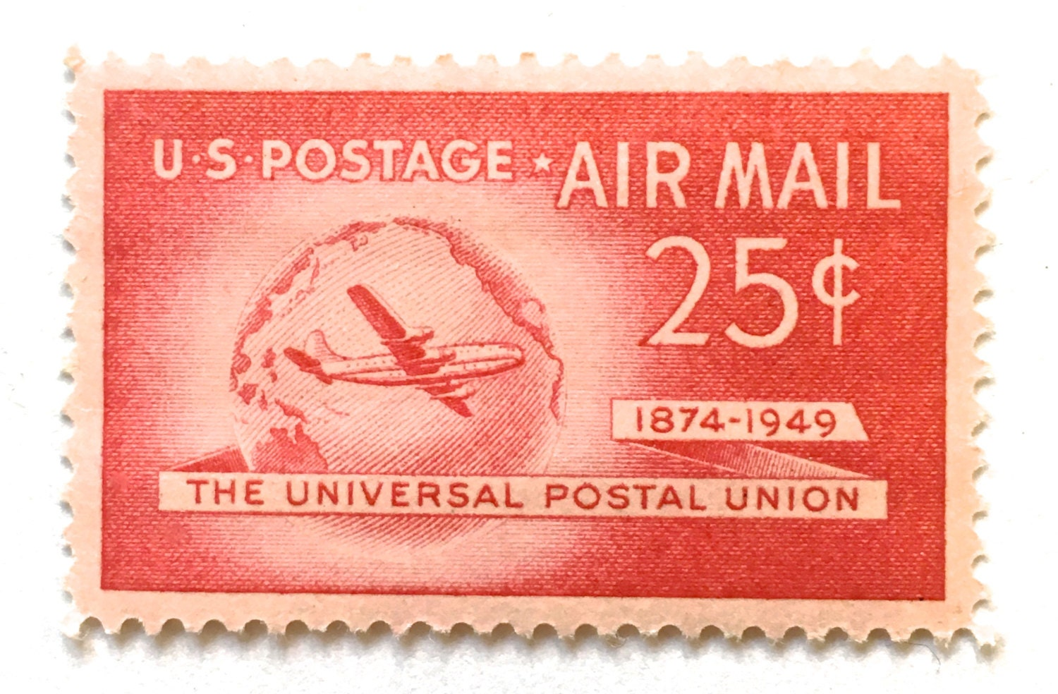10 Unused Vintage 1949 Air Mail Postage Stamps // 25 Cent Red | Etsy