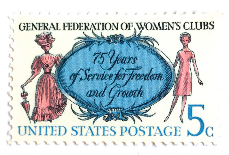 10 Unused Women's Club Postage Stamps // Pink and Blue image 0